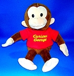 RUSS 12  in Red T-Shirt plush stuffed Curious George..