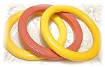 Click here to enlarge image and see more about item 0315200419: 3 Yummy Rose & Creamy Gold Bakelite Bangles