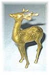 Click here to enlarge image and see more about item 0317200537: 4 1/2 Inch Tall Brass Deer With Antlers