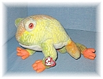 Click here to enlarge image and see more about item 0317200549: Ty Yellow Green Orange Prince Frog