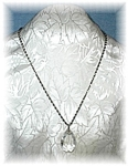 Sterling Silver 24 Inch Rope Chain RockCrystal Pendant
