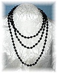 Glass Black Diamond Shaped 60 Inch Necklace