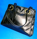 Vintage Black Leather 3 Compartment Purse Bag