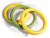 Click to view larger image of 3 Yummie Gold & Green Bakelite Bangles (Image2)