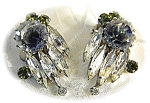 Austrian Peridot and Grey Crystal  Clip Earrings