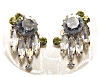 Click to view larger image of Austrian Peridot and Grey Crystal  Clip Earrings (Image2)