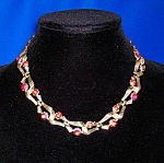 Vintage LISNER Gold Red Borealis Crystal Necklace