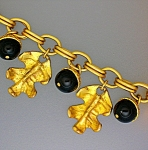 DAUPLAISE Gold Necklace with Leaves and Lucite Acorns