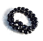 Click here to enlarge image and see more about item 0320200332: Vintage Black Glass/FrenchJet Bead Bracelet.
