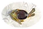 Rhinestone Smokey  Topaz  Glass Goldtone Bird Pin