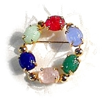 Goldtone Multi Glass Jewel Scarob Brooch/Pin