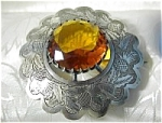 HUGE Scottish Brooch Sah Pin Amber Glass Stone