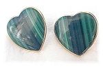 Click here to enlarge image and see more about item 0328200431: 14K Gold Malachite Large Heart Clip Earrings