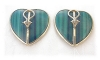 Click to view larger image of 14K Gold Malachite Large Heart Clip Earrings  (Image2)