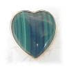 Click to view larger image of 14K Gold Malachite Large Heart Clip Earrings  (Image3)