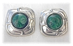 Click to view larger image of Sterling Silver & Green Cabochon Clip Earrings (Image1)