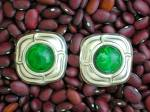Click to view larger image of Sterling Silver & Green Cabochon Clip Earrings (Image6)