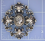 Brooch Sterling Silver CINI Cameo Pin large