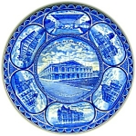 Click here to enlarge image and see more about item 0402200702: FLOW BLUE STAFFORDSHIRE SOUVENIR PLATE KANSAS CITY