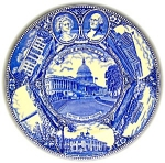 Click here to enlarge image and see more about item 0402200703: FLOW BLUE STAFFORDSHIRE SOUVENIR PLATE WASHINGTON, DC