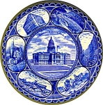 Click to view larger image of FLOW BLUE STAFFORDSHIRE SOUVENIR PLATE DENVER, CO...... (Image1)