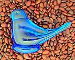 Click here to enlarge image and see more about item 0402200705: Blue Bird Glass By RON RAY 1988