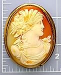 Click here to enlarge image and see more about item 0404200832: Cameo Carved Shell Italian 2 3/8 Inch Gilt Brass