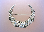 Sterling Silver Crown TRIFARI Crystal Crescent Brooch P