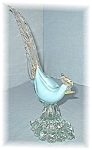 Click here to enlarge image and see more about item 0406200523:  Murano Glas Bird Palest Blue Gold White Italy