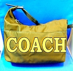 Coach Leather Micro Fibre Bag Purse Dark Brown