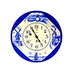 Click here to enlarge image and see more about item 0409200732: Clock Key Wind 8 Day Miller Porcelain Dutch Figures