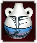 Click here to enlarge image and see more about item 0417200621: Blue and Cream M Yazzie American Indian Pot