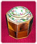 Click here to enlarge image and see more about item 0417200632: Porcelain Hand Painted Top Wood Box Jeanne Jar