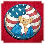 Click here to enlarge image and see more about item 0417200692: Artist  Wood Hand Painted Teddy Bear Dish JEANNE