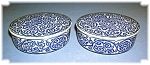 Click here to enlarge image and see more about item 0418200660: 2 Small Blue Jars Made in Japan