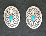 Concho Sterling Silver Turquoise Clip Earrings USA
