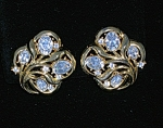 Crown Trifari Gold and Crystal Clip Earrings