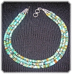 18 Inch Graduated Turquoise 3 Row Necklace