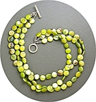 Click to view larger image of Pearls Sterling Silver Toggle Clasp Lime Green Coin  (Image1)