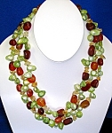Necklace Lime  Pearls Carnelian Crystal Sterling Silver