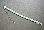 Click to view larger image of Calvin Begay Turquoise Sterling Silver Inlay  Bracelet (Image1)