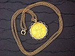 Click here to enlarge image and see more about item 04272008a: Pendant Gold Sovereign  Queen Victoria Widow  Surroun