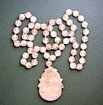 Rose Quartz 10mm Beads Carved Pendant