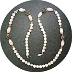 Necklace Rose Quartz Green Agate Silver Roses