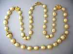 Pearls and Gold Roses 32 Inch Long Necklace