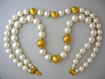 Napier Pearls & Gold Bead Double necklace