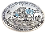 Click to view larger image of Sterling Silver Turquoise  Buffalo Belt Buckl (Image1)