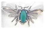 Click here to enlarge image and see more about item 0429200436: NORDIC Jewelled Bug Brooch Sterling Silver
