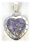 Click to view larger image of Sterling Silver Mexican Opal Heart Pendant (Image1)
