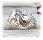 Click to view larger image of Ring 14 K Gold 1 1/4 round Channel Set CZ's (Image1)